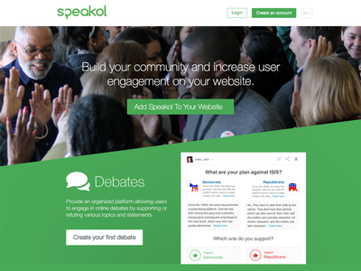 Speakol For Publishers home page user interface ui homepage debate debates commenting green discussion comments publishers speakol