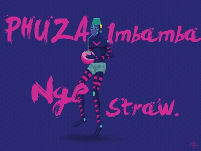 Drink African Traditional Beer With A Straw. luthando mfabe graphic design south africa africa african illustration