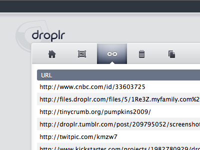 Droplr's Toolbar droplr home images links notes files toolbar icons interface slate