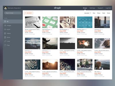 Droplr - Home droplr interface grid search navigation