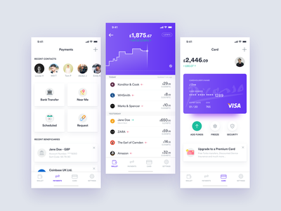 Cryptocurrency Card - App Concept 💳 ui mobile iphonex ios payment wallet crypto wallet cryptocurrency crypto app