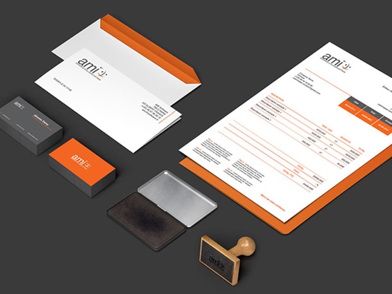 Brand AMI letter cards invoice corporate company mockup graphic print brand