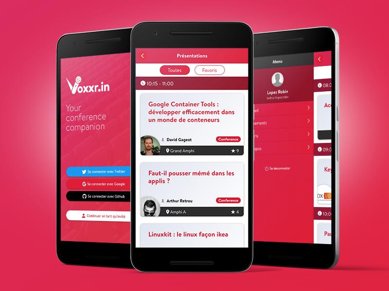 Voxxrin 2 graphic interface mobile menu nav login dashboard card list webdesign event conference ui ux mobile app