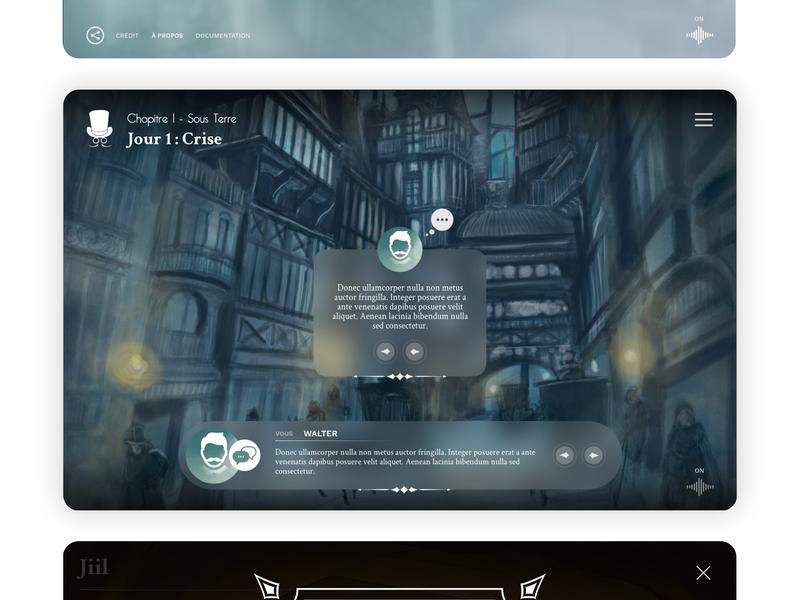 Game Desktop previous next cards dialogue website app interface game ui  ux ui design