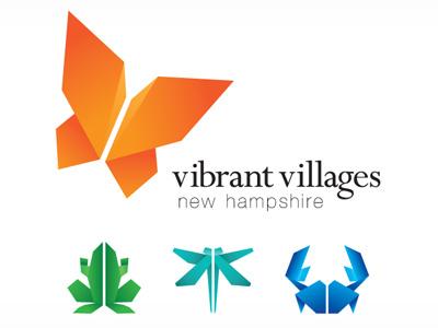 Vibrant Villages NH Logo vibrant villages origami logo butterfly frog dragonfly crab