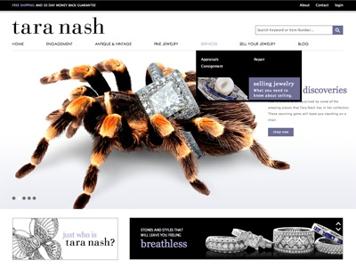 Tara Nash spiders ♥ shinies website home page jewelry