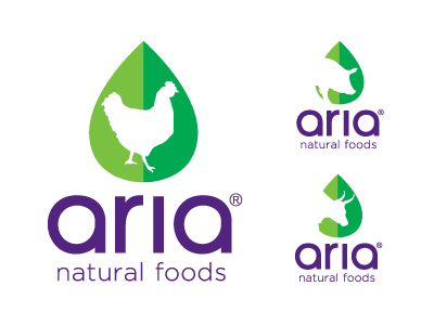 Aria Logo logo natural foods cluck oink moo