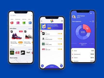 Vapulus Mobile App For Tracking Offers product design points buy ecommerce save money loyalty program offer analytics ux inspiration app bank finance branding ui