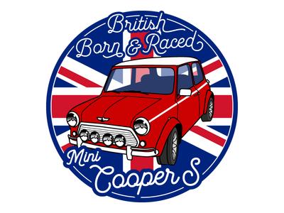 """BMC Classic Mini Cooper S (3"""" sticker) car racer race monte carlo rallye rally british bmc cooper s cooper mini"""