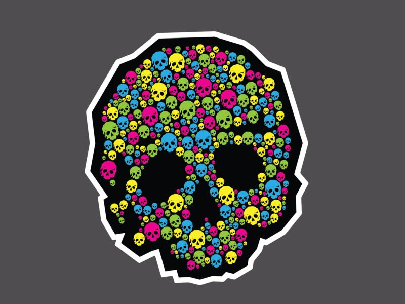 CMY sKull stickermule sticker halloween cmyk skull
