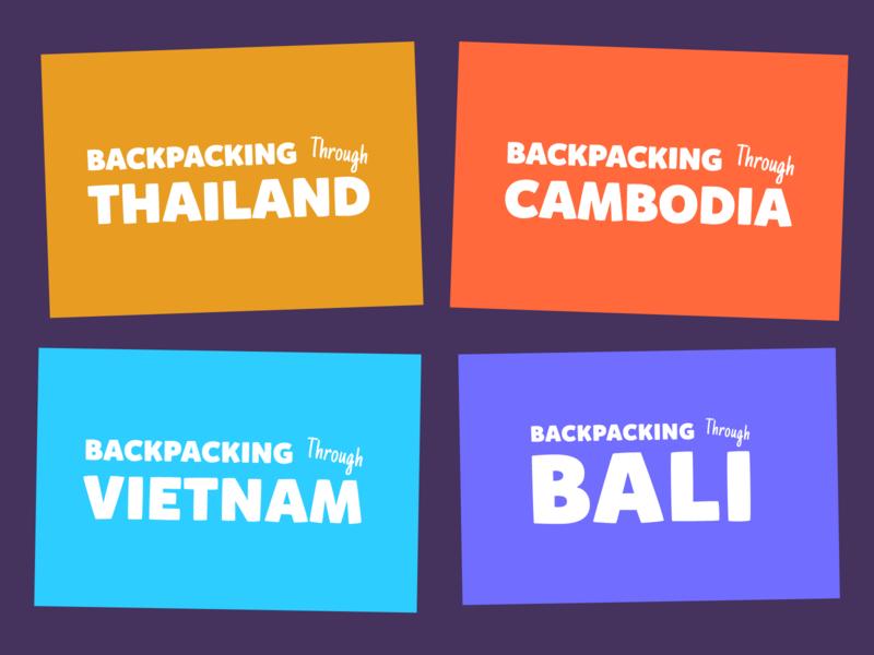 Backpacking Tours   Tour Logos illustration typeography typeface logo design logo logotype cambodia bali vietnam thailand tourism travel tours branding design