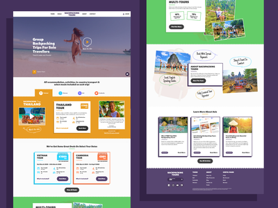 Backpacking Tours | Website homepage zigzag line art tours backpacking tourism travel colourful bright web design website web ux ui photography illustration design