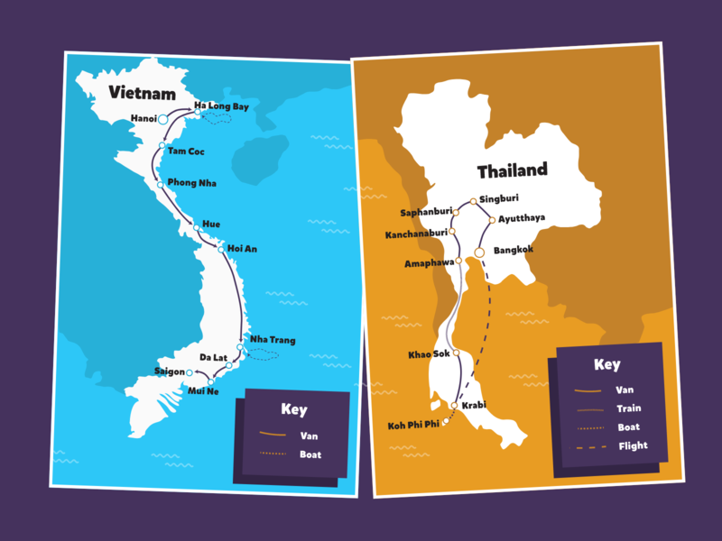 Backpacking Tours   Tour Maps vietnam cambodia bali thailand geography infographic branding backpacking travel tourism illustration design map tour