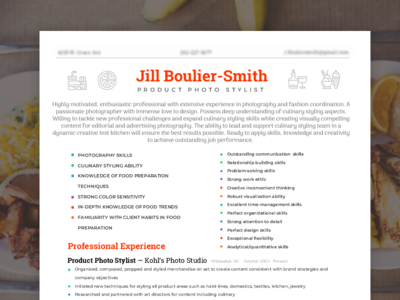 Resume design for product photo-stylist