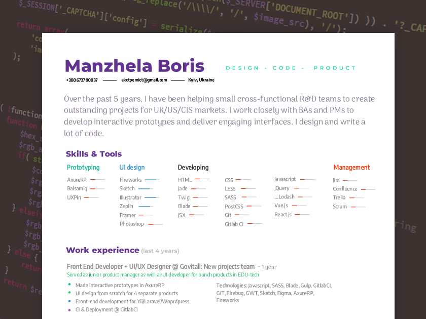 My Resume By Boris Manzhela Dribbble Dribbble