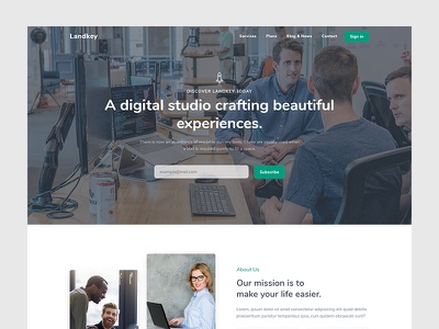 Landkey - Landing Page responsive design startup bussines product launch modern marketing landing creative corporate agency portfolio design