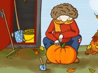 Kalle and a pumpkin