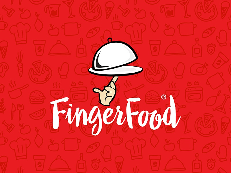 Fingerfood owdesignz hungry red branding logo finger food fingerfood