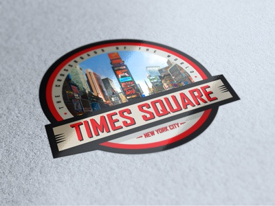Times Square crossroads badge retro vintage logo owdesignz new york times square