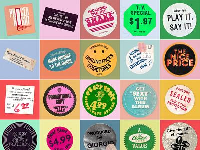 3 FOR $1.00 positivity inspiration design create ephemera stickers vinyl record music
