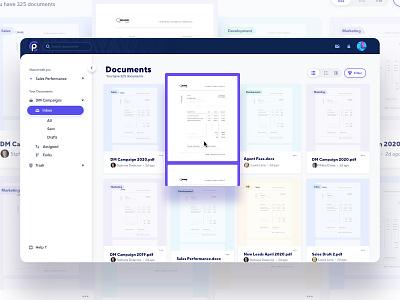 Documents Grid View - SAAS ui interface clean grid view side menu filter grid document application web apps saas design saas app node.js react web app saas