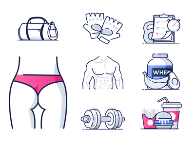 Fitness Icons cardio workout wellness health bodybuilding crossfit sports sport gym fitness illustrations icons icon