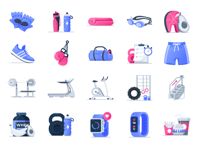 fitness gym icons muscle wellness illustrations icon icons workout crossfit fitness gym