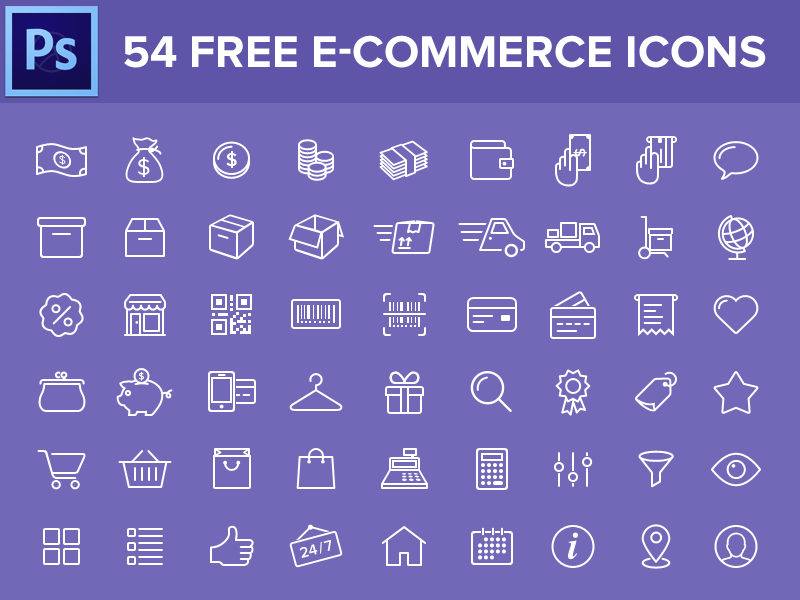 54 Free e-commerce icons icon set free freebie icons line icon ios8 icons e-commerce shop shopping mobile ios
