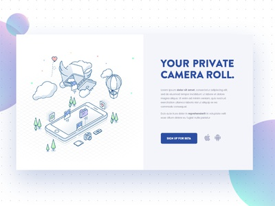 Isometric Illustration modal window sign up landing page website modal form subscribe app camera photo isometric ui illustration
