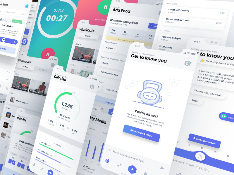 Fitness app new screens ui ux by Virgil Pana