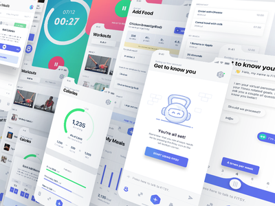 Fitness app new screens ui ux ios app mobile ai fitness chat bot ai ui ux interaction animation gif