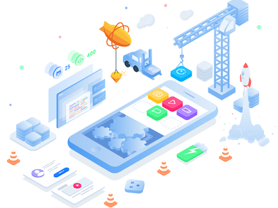 Isometric Illustrations - App Development