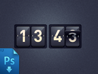 Clock (PSD freebie) free freebie psd free psd design interaction ui interface ux mobile 3d flip counter clock time