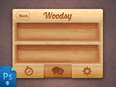 IPhone wood Ui(PSD Freebie) free freebie free psd psd iphone mobile wood tabs 3d shelf skeuomorph