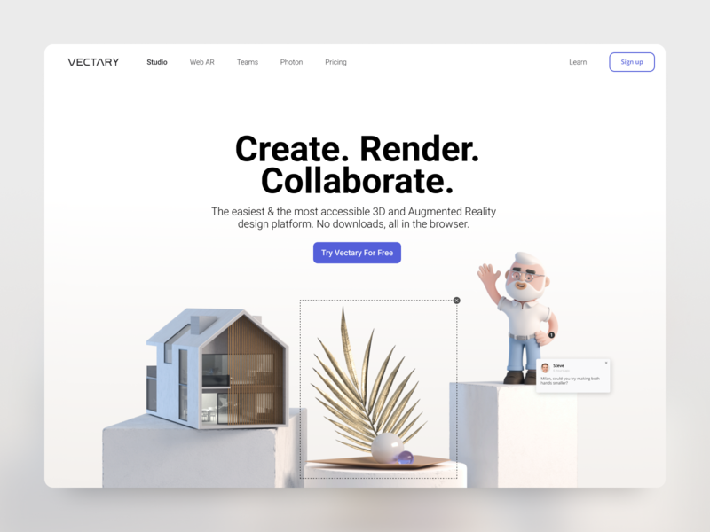 Vectary homepage design tool homepage design homepage webdesigner uidesign ui webdesign design illustration render 3d vectary