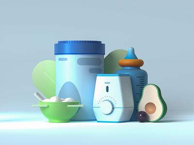 Baby Breakfast in 3D still life material texture photon modeling vectary render illustration 3d