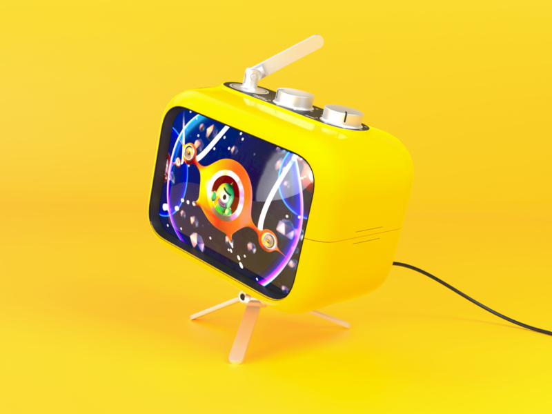 Yellow 3D Retro Radio with TV   Template yellow free 3d modeling template mockup photon vectary render product radio tv 3d