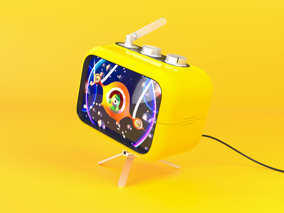 Yellow 3D Retro Radio with TV | Template yellow free 3d modeling template mockup photon vectary render product radio tv 3d