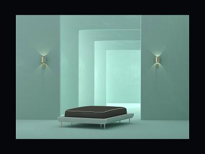 Dream 2 gold lighting mattress mint colors design illustration setdesign arnold cinema4d c4d 3d