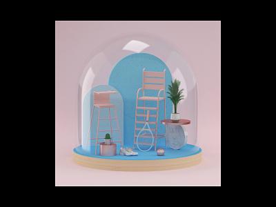 Summer of Terrarium vray pink cactus setdesign illustration tennis chair inspiration architecture photoshop c4d cinema4d wood 3dart 3d glass colors tennis ball tennis space terrarium