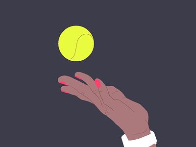 The Serve inspiration hand drawing design colors cintiq digitalart illustration 2d tennis ball tennis server