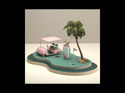 Mini Golf illustration color inspiration artdirection photoshop print vrayrender vray c4d cinema4d summer water design setdesign palmtrees set cgi 3d bag golf
