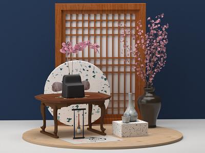 Korea ceramics vase abstract wood cherryblossom korean korea inspiration design setdesign illustration cinema4d colors c4d 3d
