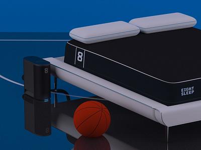 The Pod is in the Orlando bubble basketball mattress nba illustration vray c4d 3d set design eightsleep pod orlando bubble
