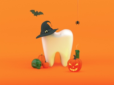 Happy Halloween orange tooth teeth bats hat witch spooky spider skull candle pumpkins halloween colors vray setdesign design illustration cinema4d c4d 3d
