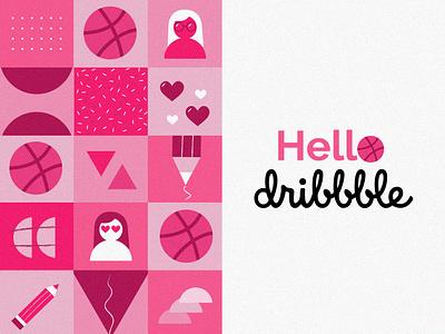 Hello Dribbble :D typography illustrator art design illustration art flat girl collage branding vector illustration artwork