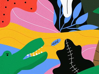 Jungle 🐊 artwork life illustrstor artistic draw design animal vector texture flat art jungle illustration