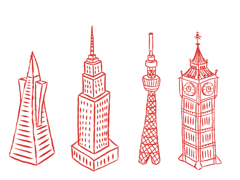 Location icons skyscraper building buidling location icons bigben skytree empirestate transamerica london tokyo newyork sanfrancsico