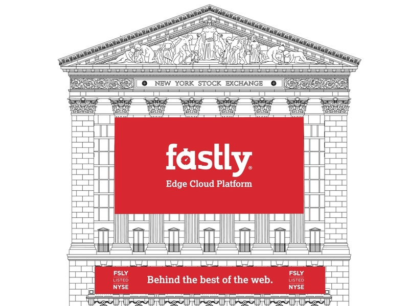 Fastly New York Stock Exchange Facade fastly red print outdoor banner facade exchange stock nyse