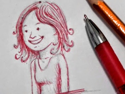 Spontaneous sketch by pencil and red pen girl sketches